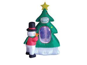 4' Inflatable Snowman with Christmas Tree Lighted Yard Art Decoration