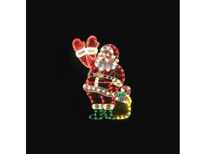 "48"" Holographic Lighted Waving Santa Claus Christmas Yard Art Decoration"
