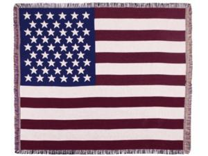 """Patriotic Flag of the U.S.A. Woven Tapestry Afghan Throw Blanket 50"""" x 60"""""""