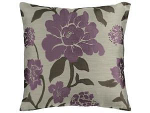 """18"""" Purple Plum and Gray Romantic Floral Decorative Down Throw Pillow"""