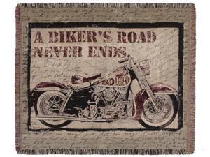 """Motorcycle """"Biker's Road"""" Woven Tapestry Afghan Throw Blanket 50"""" x 60"""""""