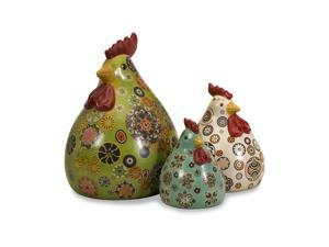 Set of 3 Colorful Porcelain Canvon Chicken Figures 12""