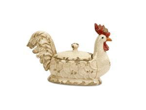 "15"" Cockerel Small Decorative Rustic Creamy White Ceramic Rooster Dish with Lid"