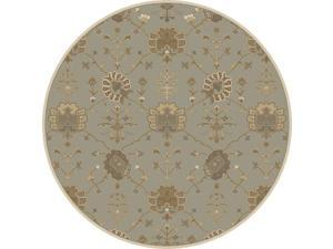 8' Grecian Arms Olive Green, Ivory and Beige Round Area Throw Rug