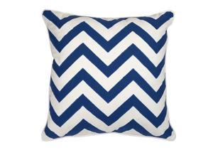 """17.75"""" Mainstays White and Marine Blue Embroidered Chevron Square Decorative Throw Pillow"""