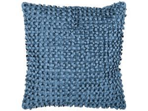 "22"" Pacific Blue Ribbon Weave Decorative Down Throw Pillow"