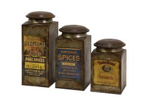 Set of 3 Antique Vintage Label Wood and Metal Canisters 9""