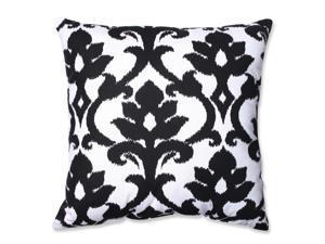 "23"" Azzure Jet Black and Winter White Floral Damask Ikat Floor Pillow"