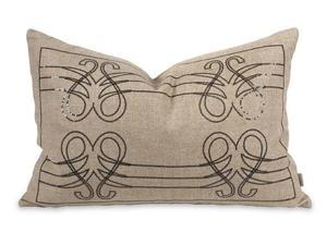 """21"""" Brava Music Inspired Natural Linen Sequined Throw Pillow with Down Insert"""