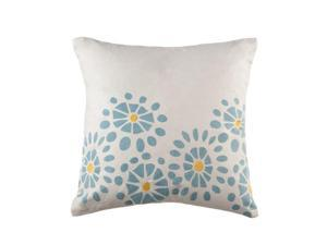 Pack of 2 White Cotton Throw Pillows with Blue and Yellow Floral Burst Design