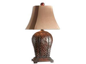 "34"" Mahogany Rust Brown Iron & Beige Rectangular Bell Shade Table Lamp"