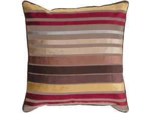 """22"""" Bright and Vibrant Brown and Red Striped Decorative Throw Pillow"""