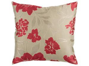 "22"" Beige and Red Romantic Floral Decorative Throw Pillow"
