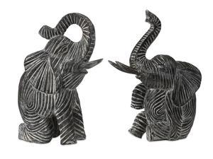 2 Mombo African Inspired Hand Crafted Wood Carved Playful Elephant Figures