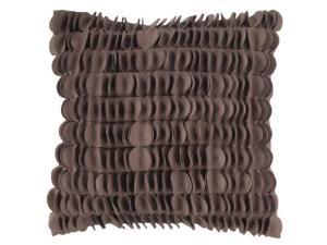 """18"""" Coffee Brown Dimensional Applique Scalloped Decorative Throw Pillow"""