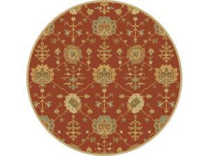 9.75' Grecian Arms Rust Red, Khaki Tan and Olive Green Round Wool Area Throw Rug