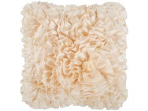"18"" Ivory Lush Ruffle Decorative Throw Pillow"