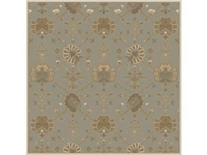 8' Grecian Arms Olive Green, Ivory and Beige Square Area Throw Rug