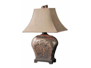 """27"""" Distressed Brown Silver Leaf & Suede Taupe Rectangular Bell Shade Table Lamp"""
