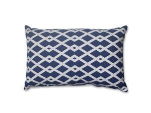 "18.5"" Cascading Diamonds Navy Blue and White Decorative Rectangular Throw Pillow"