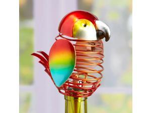 """6"""" Decorative Spring Wrought Iron Parrot Figurine Wine Bottle Stopper"""