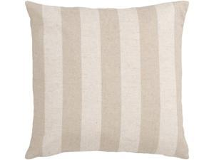 "22"" Ivory and Beige Neutral Striped Decorative Throw Pillow"