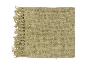 """51"""" x 71"""" Belle Vie Avocado Green Wool Throw Blanket"""