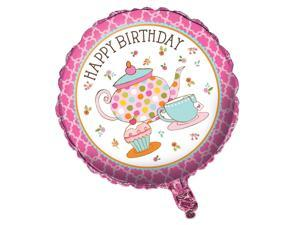 """Pack of 10 Tea Time Metallic """"Happy Birthday"""" Foil Party Balloons"""