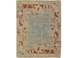 10' x 14' Floral Melody Sonoma Blue and Rust Wool Fringed Area Throw Rug