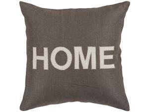 """22"""" Charcoal Gray and White """"HOME"""" Text Decorative Throw Pillow"""