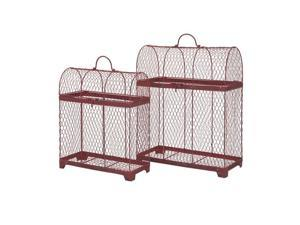 """Set of 2 Good Luck Crimson Red Wire Decorative Bird Cages 20"""""""