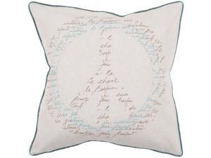 """18"""" Sea Blue and Umber Peace Sign with French Text Decorative Throw Pillow"""