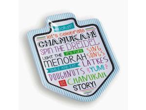 """12"""" Festive Dreidel Shape Chanukah Hanukkah Decorative Serving Tray"""