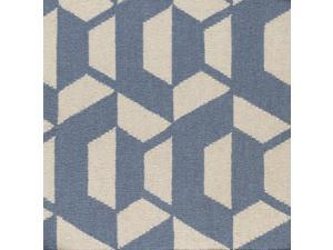 8' x 10' Shadowy Gems Denim Blue and Cream White Hand Woven Wool Area Throw Rug