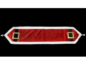 "16"" x 72"" Santa Claus Belt Buckle Velveteen Christmas Table Runner"