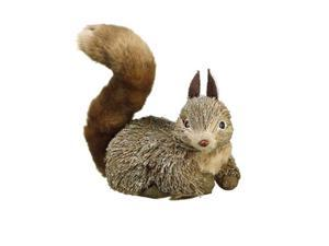 "7"" Winter Light Brown Right Facing Fluffy Tail Sisal Squirrel Christmas Table Top Decoration"
