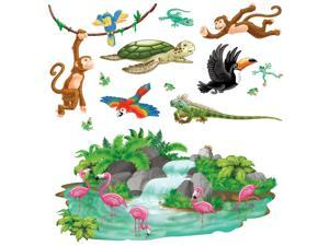 Club Pack of 156 Colorful Tropical Animals and Foliage Themed Party Wall Decoration 5.5'