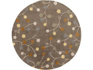 9.75' Spring Budding Almond Frost and Pearl Lusta Round Wool Area Throw Rug