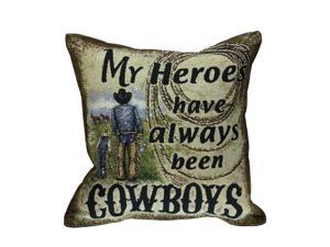 "17"" Rustic My Hero Cowboy Decorative Tapestry Accent Throw Pillow"