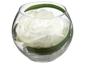 "3.5"" Decorative Ivory Peony Artificial Spring Floral in Glass Vase"