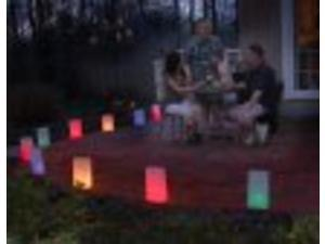Set of 10 Lighted Multi-Colored Party Time Luminaria Pathway Markers