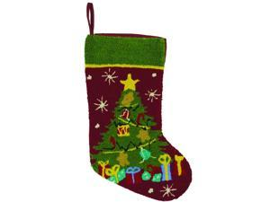 "18"" O Christmas Tree Deep Burgundy and Green Plush Textured Christmas Stocking"