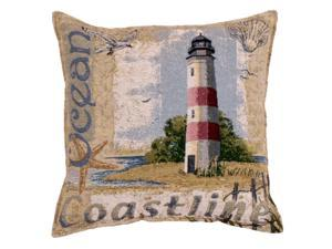 "17"" Ocean Coastline Nautical Lighthouse Decorative Tapestry Throw Pillow"