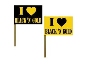 "Club Pack of 125 ""I Love Black and Gold"" Flag Food, Drink or Decoration Party Picks 8"""