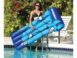 "75"" Paradise Island White and Blue Hibiscus Print Inflatable Air Mattress Swimming Pool Raft Float"