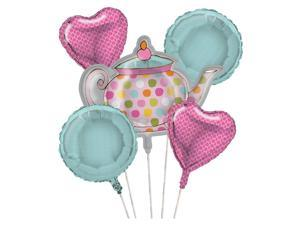 Club Pack of 12 Metallic Tea Time Foil Party Balloon Clusters