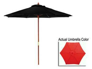 9' Outdoor Patio Market Umbrella - Red and Cherry Wood