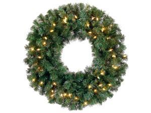 "24"" Pre-Lit Deluxe Windsor Pine Artificial Christmas Wreath - Clear Lights"