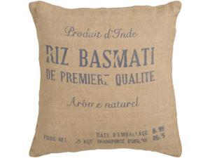 "18"" French-Style Text ""RIZ BASMATI"" Burlap and Blue Decorative Down Throw Pillow"