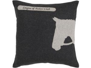 "22"" Horse Silhouette ""League of Riders Club"" on Black Decorative Throw Pillow"